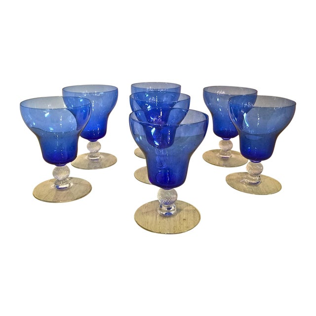 Venetian Mouth Blown Cobalt Wine Stems - S/7 - Image 1 of 7