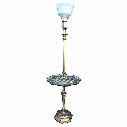 Florentine Brass Floor Lamp With Tray - Image 1 of 5
