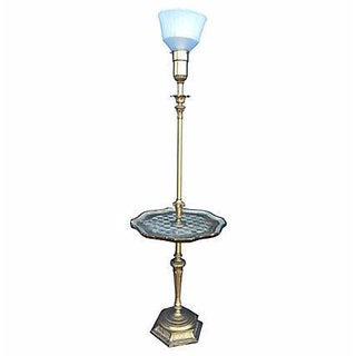 Florentine Brass Floor Lamp With Tray