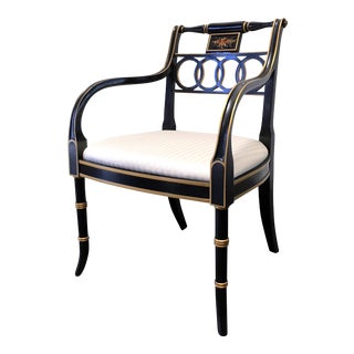 Hickory Chair Charleston Regency Black & Gold Arm Chair