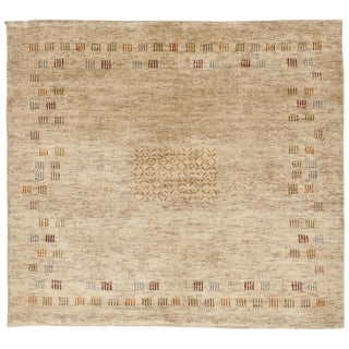 Hand Knotted Contemporary Indian Rug - 3'x 3'5""