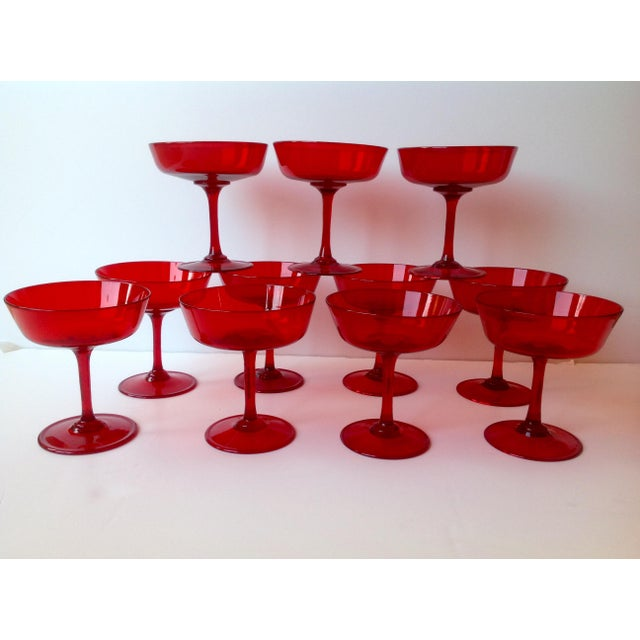 Mid-Century Ruby Red Crystal Coupe Champagne Glasses - Set of 11 - Image 2 of 6