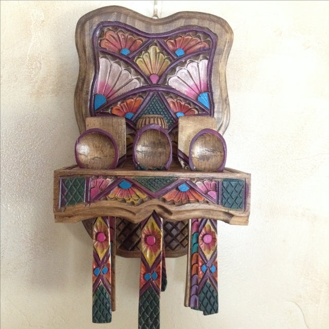 Mexican Wooden Spoon Rack With 9 Utensils - S/10 - Image 2 of 6
