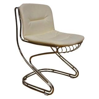 Chrome and White Vinyl Vanity Chair