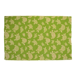 White Turtle & Polka Dot Pattern Green Table Cover