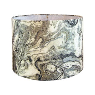 New, Made to Order, Silver Marbled Metallic Fabric, Large Drum Lamp Shade
