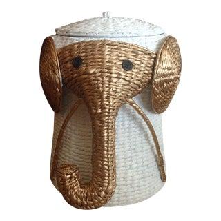 Vintage Elephant Form Storage Basket