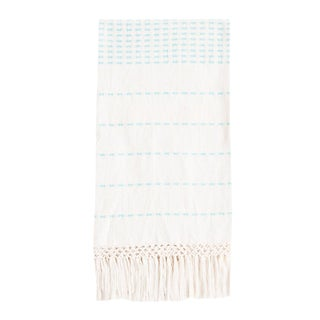 Cyan Blue Handwoven Mexican Throw