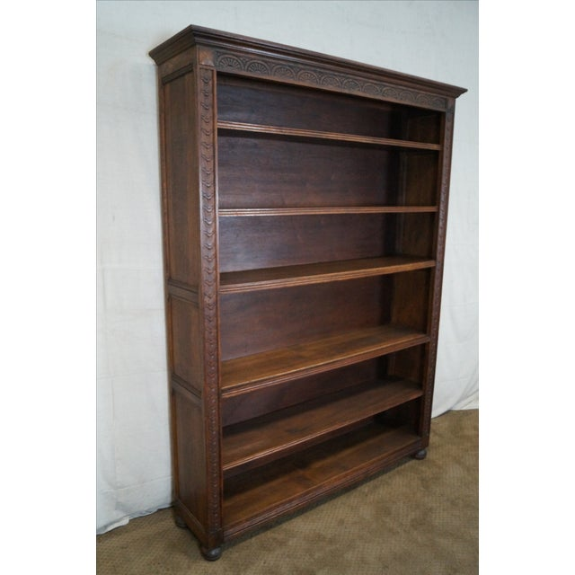 English Tudor Oak Large Open Bookcase - Image 2 of 10
