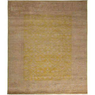 """Yellow Oushak Hand-Knotted Rug - 8'x4"""" x 9'10"""""""
