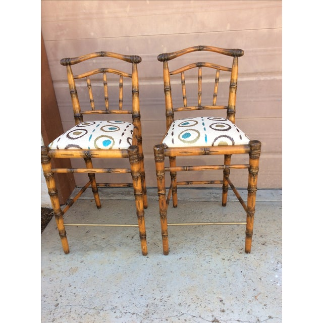 Walters Wicker Carlyle Bamboo Bar Stools - a Pair - Image 2 of 6
