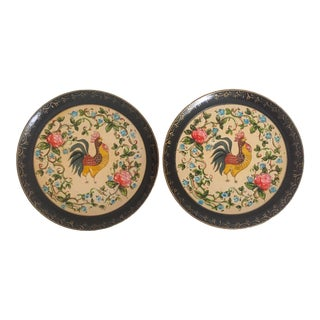 Vintage 1940's Japanese Hand Painted Rooster Decorative Plates - A Pair