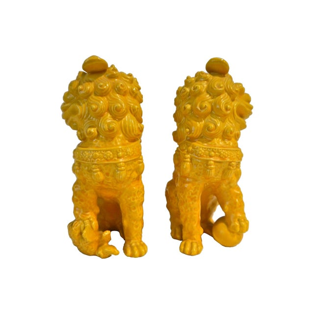 Yellow Ceramic Foo Dog - Pair - Image 5 of 5