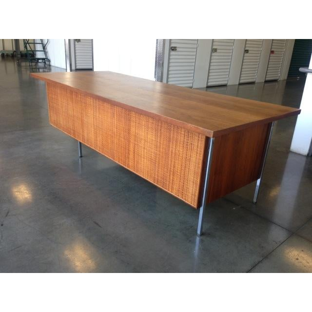 Mid-Century Executive Knoll Desk With Cane Detail - Image 4 of 7