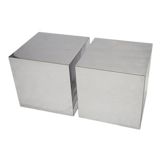 PAIR OF CHROME CUBES ATTRIBUTED TO PAUL EVANS
