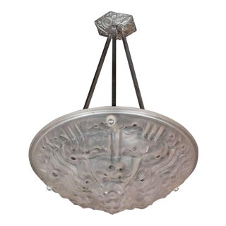 French, Art Deco Frosted Glass Reverse-Dome Floral Detail Chandelier