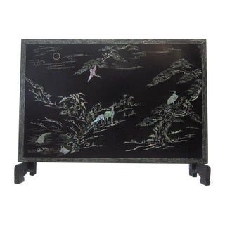 Japaned Screen with Greek Key Abalone Inlay