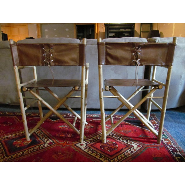 Custom Leather Director's Chairs - Pair - Image 4 of 4