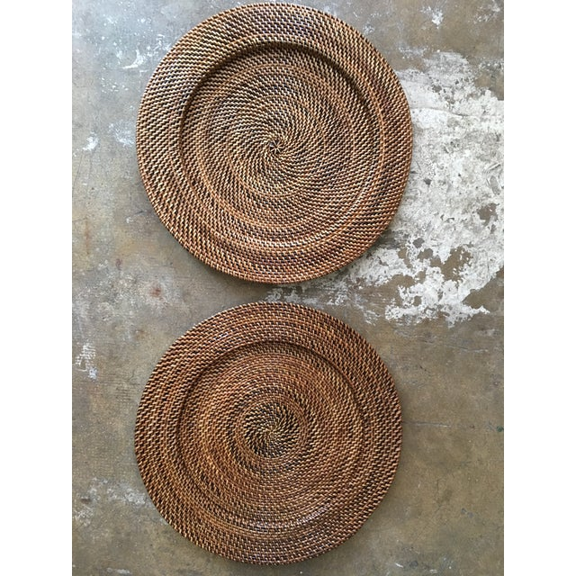 Woven Rattan Round Trays, A Pair - Image 2 of 4
