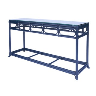 Selamat Designs Regeant Blue Console Table With Glass Top