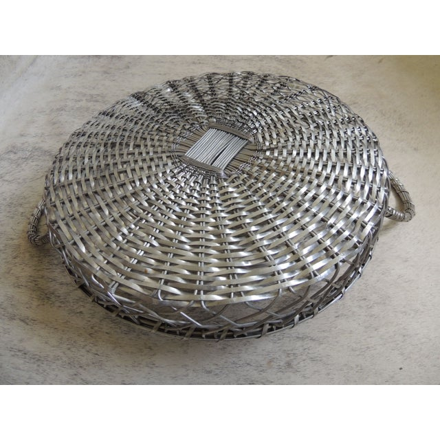 Vintage Large Silver Flat Wire Basket With Handles - Image 4 of 4