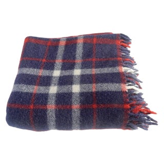Navy Plaid Wool Throw