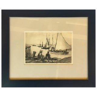 "1929 Reynolds Beal ""Nassau Waterfront"" Drawing"