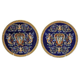 French Gien Wall Plates - Pair