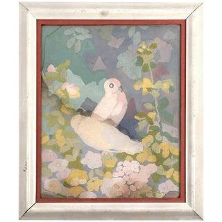 Art Deco Gouache Painting of Doves in a Floral Landscape