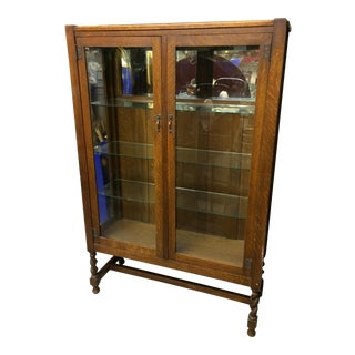 Antique Mission Oak China Cabinet