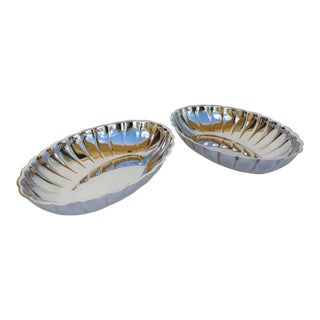 Silver Plate Coved & Fluted Server Bowls -Set of 2