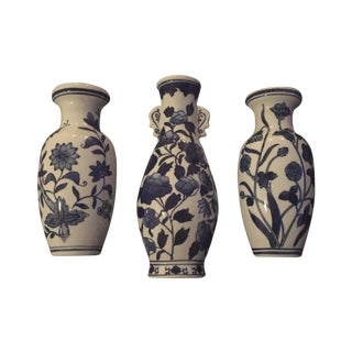 Blue & White Chinoiserie Wall Vases - Set of 3