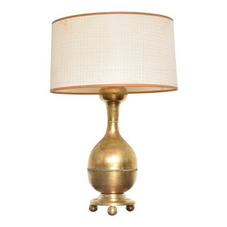 Mid Century Modern Sculptural Brass Table Lamp, Mexican Modernist