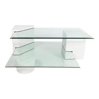 1980s Post-Modern Geometric Multi-Tiered Coffee Table