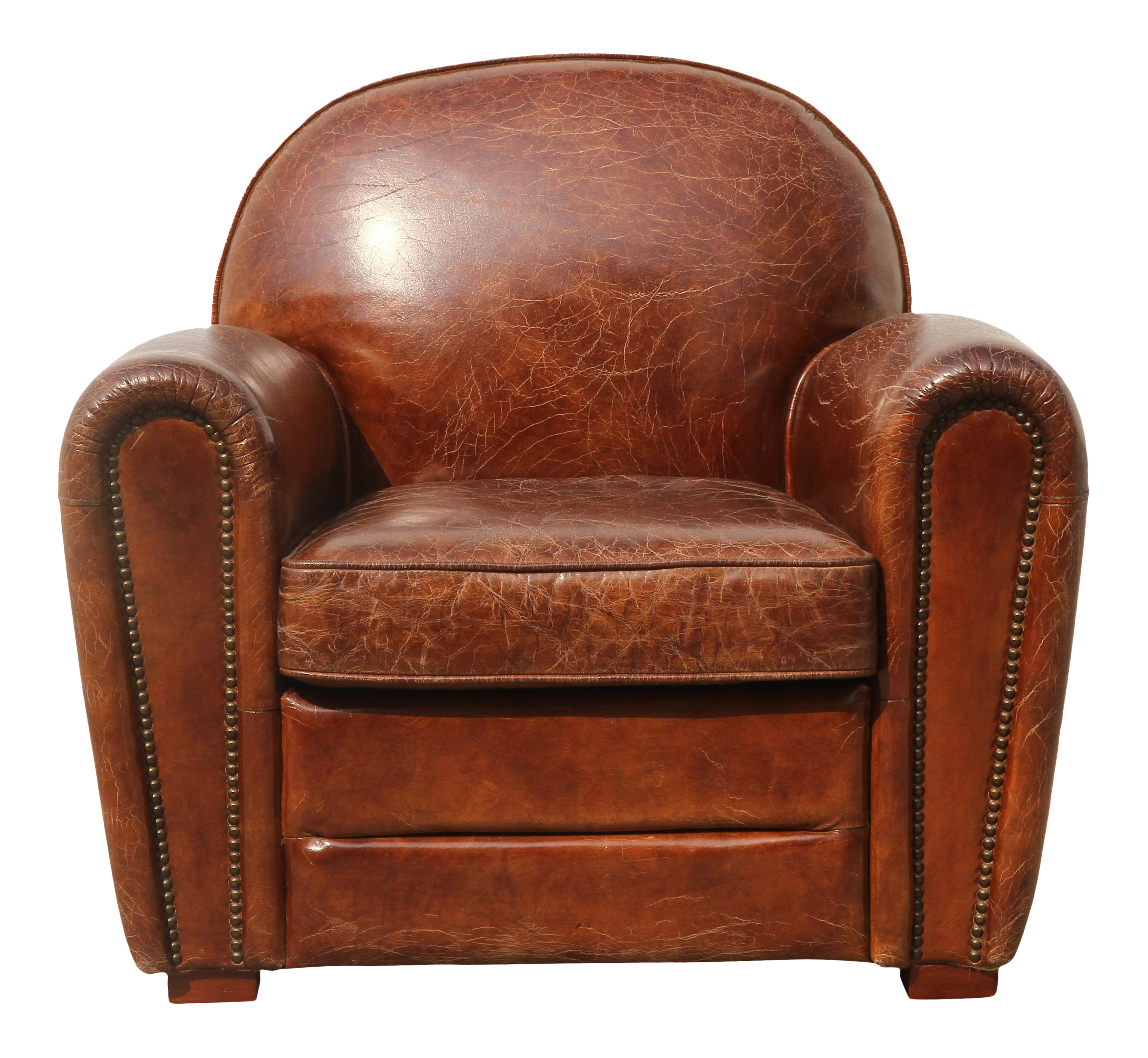 Pasargad Brown Leather Paris Club Chair