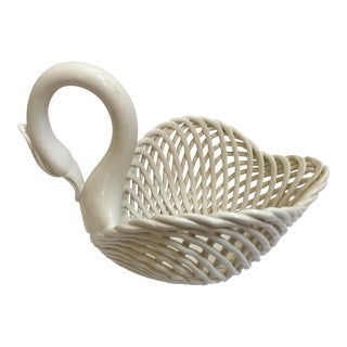 Italian Ceramic Swan Basket