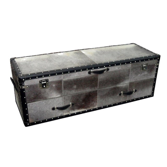 Image of Black and White Hair Leather Bedside Trunk Box