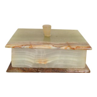 Alabaster Square Trinket Box