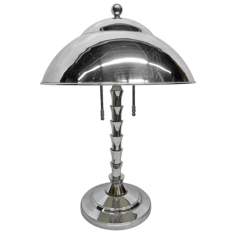 Jay Spectre Chrome Table Lamp For Paul Hanson