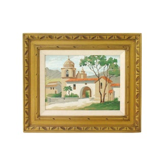 Framed California Mission Painting