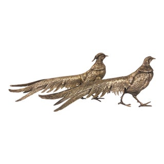 Antique French 19th Century Silvered Pheasants - A Pair