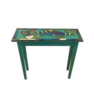 Handmade Vintage Art Glass Tile Cat Table