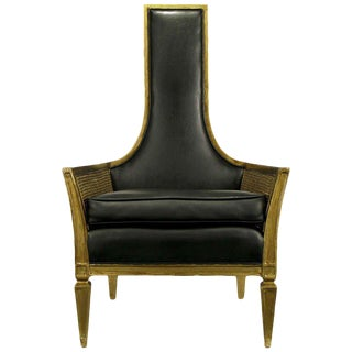Antique Gilt Finish & Black Naugahyde Moorish Style Lounge Chair