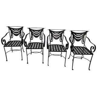 Iron and Brass Neoclassical Armchairs - Set of 4