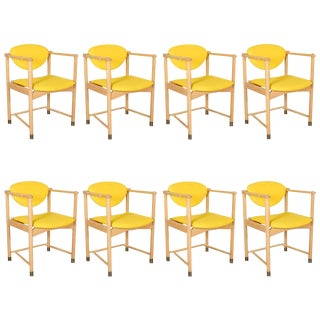 Oak Yellow Dining Armchairs by Bjorn Engo - Set of 8