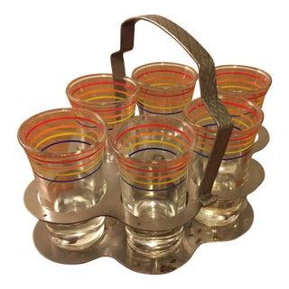 Vintage Shot Glasses & Serving Caddy - Set of 7