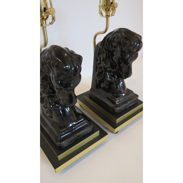 Mid- Century Ceramic and Brass Horsehead Lamps - A Pair - Image 3 of 7