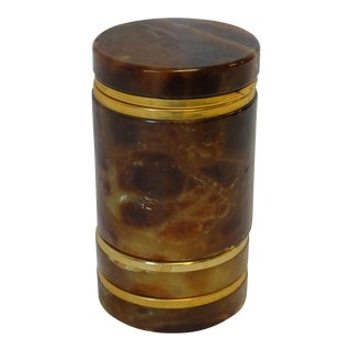 Brown Alabaster Cigarette Box & Ashtrays
