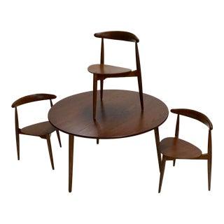 Fantastic 1950 Hans Wegner Three Leg Table and Chair Set