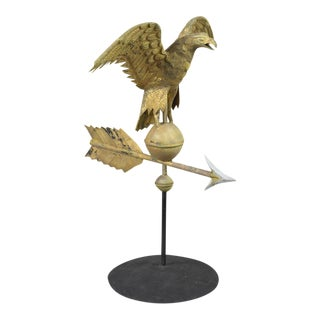 Full Body Eagle Weathervane Perched on a Ball with Outstretched Wings